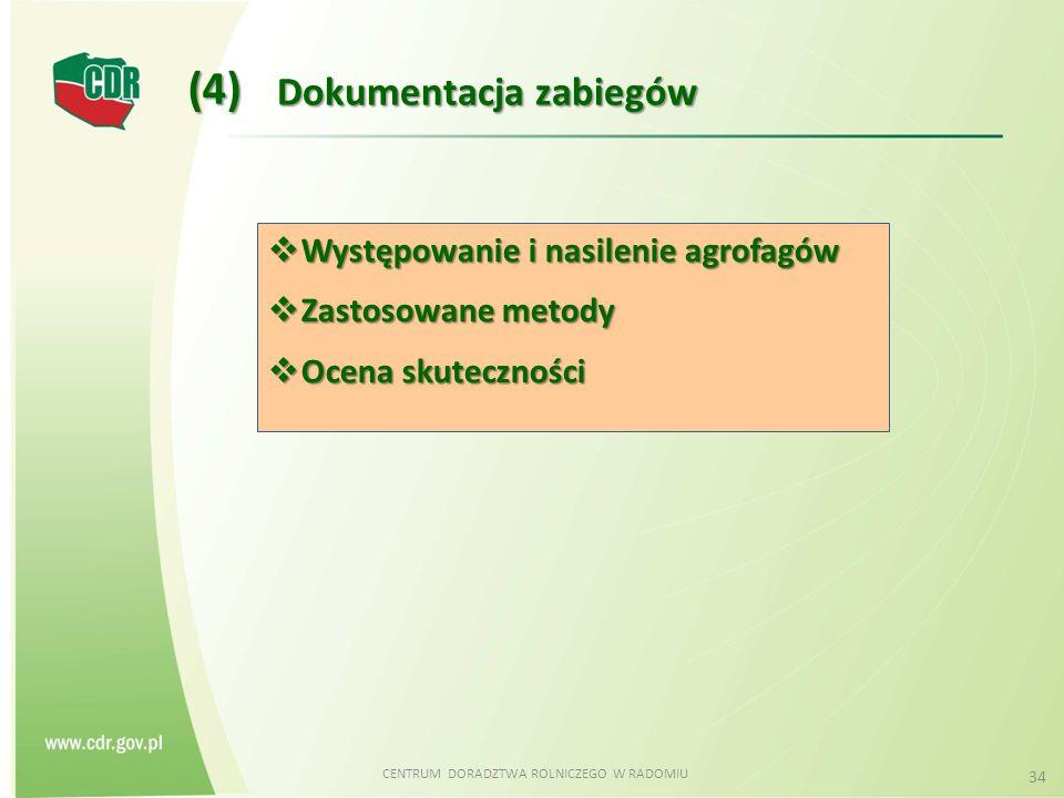 CENTRUM DORADZTWA ROLNICZEGO W RADOMIU 34 Dokumentacja zabiegów (4)  Występowanie i nasilenie agrofagów  Zastosowane metody  Ocena skuteczności