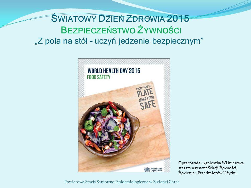 """Ś WIATOWY D ZIEŃ Z DROWIA 2015 B EZPIECZEŃSTWO Ż YWNOŚCI """" Z pola na stół – uczyń jedzenie bezpiecznym """" Powiatowa Stacja Sanitarno-Epidemiologiczna w"""