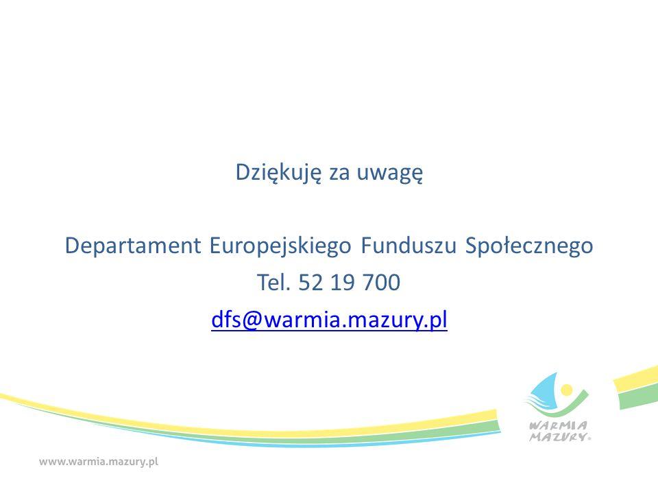 Dziękuję za uwagę Departament Europejskiego Funduszu Społecznego Tel.