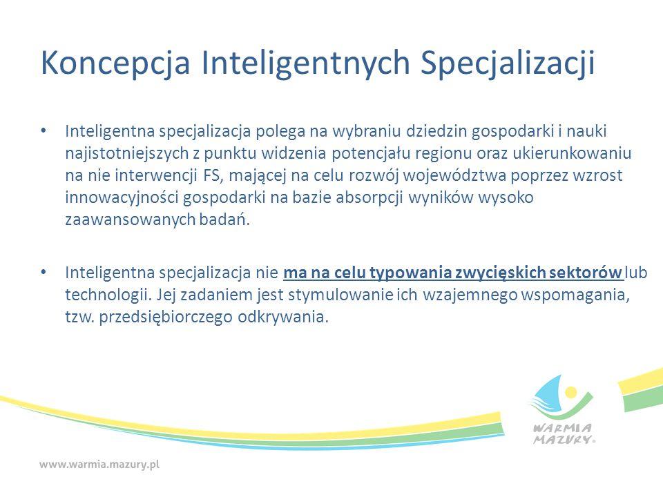 Koncepcja Inteligentnych Specjalizacji Inteligentna specjalizacja polega na wybraniu dziedzin gospodarki i nauki najistotniejszych z punktu widzenia potencjału regionu oraz ukierunkowaniu na nie interwencji FS, mającej na celu rozwój województwa poprzez wzrost innowacyjności gospodarki na bazie absorpcji wyników wysoko zaawansowanych badań.