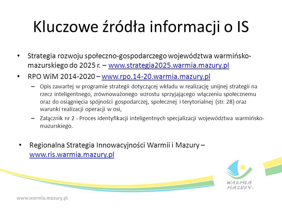 Kluczowe źródła informacji o IS Strategia rozwoju społeczno-gospodarczego województwa warmińsko- mazurskiego do 2025 r.