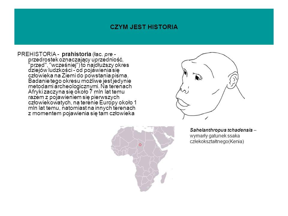 CZYM JEST HISTORIA PREHISTORIA - prahistoria (łac.