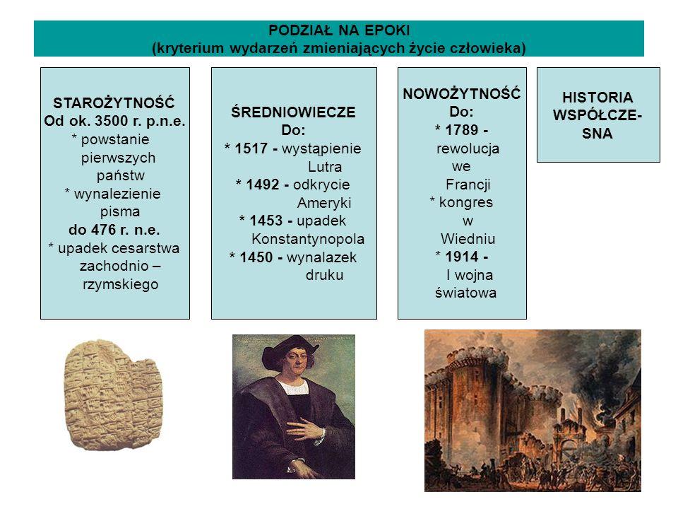 PODZIAŁ NA EPOKI (kryterium wydarzeń zmieniających życie człowieka) STAROŻYTNOŚĆ Od ok. 3500 r. p.n.e. * powstanie pierwszych państw * wynalezienie pi