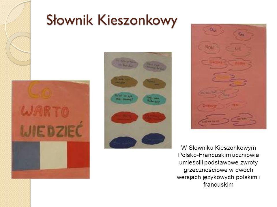 Słownik Kieszonkowy W Słowniku Kieszonkowym Polsko-Francuskim uczniowie umieścili podstawowe zwroty grzecznościowe w dwóch wersjach językowych polskim i francuskim