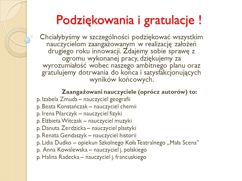 Podziękowania i gratulacje .