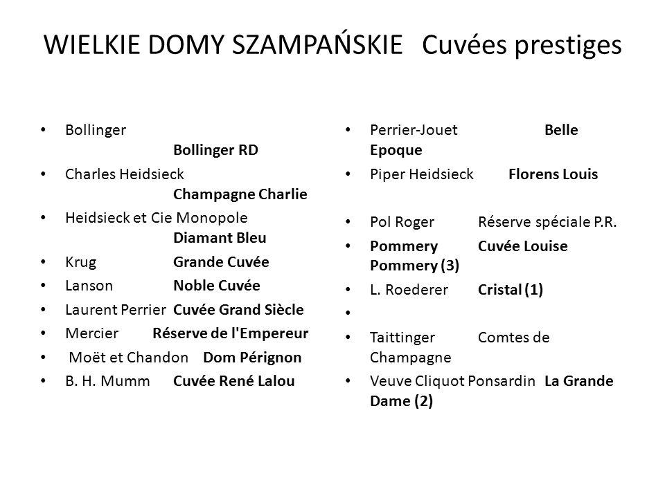 WIELKIE DOMY SZAMPAŃSKIE Cuvées prestiges Bollinger Bollinger RD Charles Heidsieck Champagne Charlie Heidsieck et Cie Monopole Diamant Bleu KrugGrande