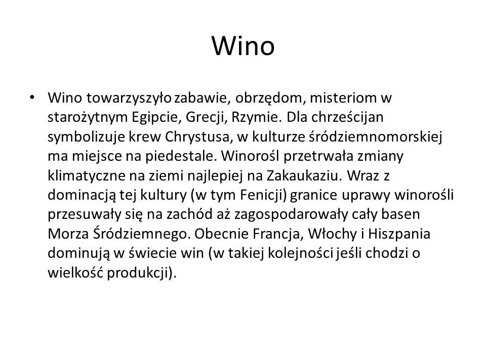 Wino Wino towarzyszyło zabawie, obrzędom, misteriom w starożytnym Egipcie, Grecji, Rzymie. Dla chrześcijan symbolizuje krew Chrystusa, w kulturze śród