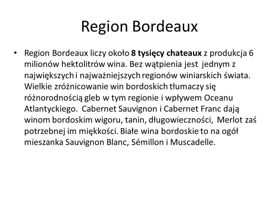 Region Bordeaux Region Bordeaux liczy około 8 tysięcy chateaux z produkcja 6 milionów hektolitrów wina. Bez wątpienia jest jednym z największych i naj
