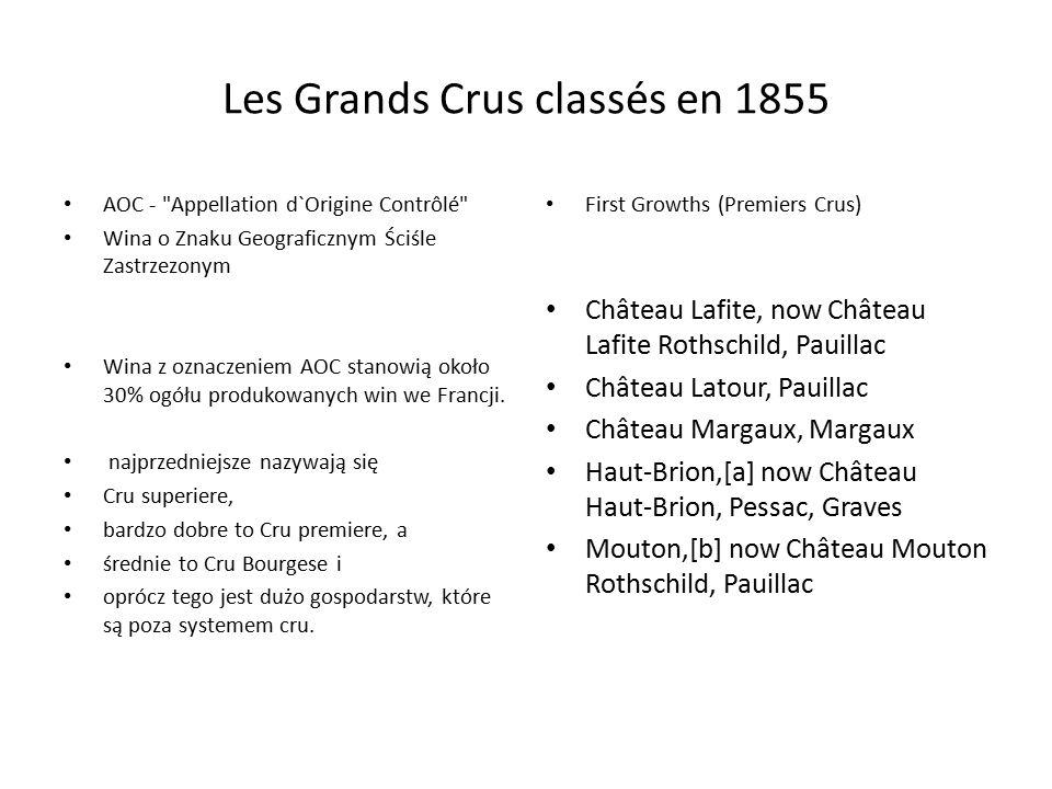 Les Grands Crus classés en 1855 AOC - Appellation d`Origine Contrôlé Wina o Znaku Geograficznym Ściśle Zastrzezonym Wina z oznaczeniem AOC stanowią około 30% ogółu produkowanych win we Francji.