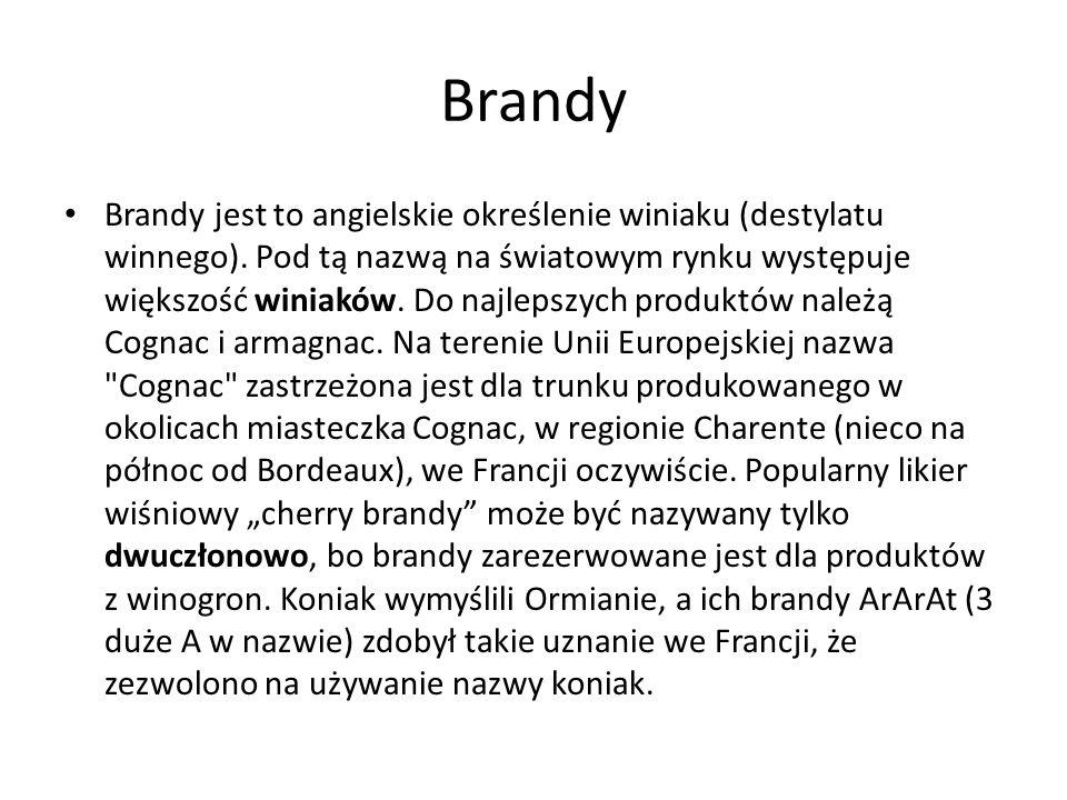 Brandy Brandy jest to angielskie określenie winiaku (destylatu winnego). Pod tą nazwą na światowym rynku występuje większość winiaków. Do najlepszych