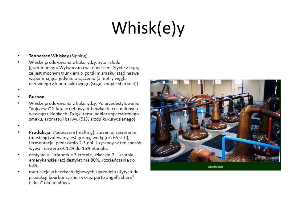 Whisk(e)y Tennessee Whiskey (Sipping) Whisky produkowana z kukurydzy, żyta i słodu jęczmiennego. Wytwarzana w Tennessee. Słynie z tego, że jest mocnym