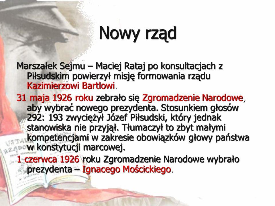 Nowy rząd Marszałek Sejmu – Maciej Rataj po konsultacjach z Piłsudskim powierzył misję formowania rządu Kazimierzowi Bartlowi. 31 maja 1926 roku zebra