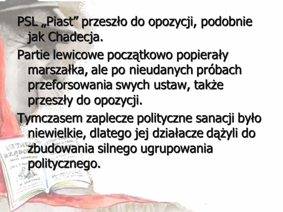 """PSL """"Piast"""" przeszło do opozycji, podobnie jak Chadecja. Partie lewicowe początkowo popierały marszałka, ale po nieudanych próbach przeforsowania swyc"""