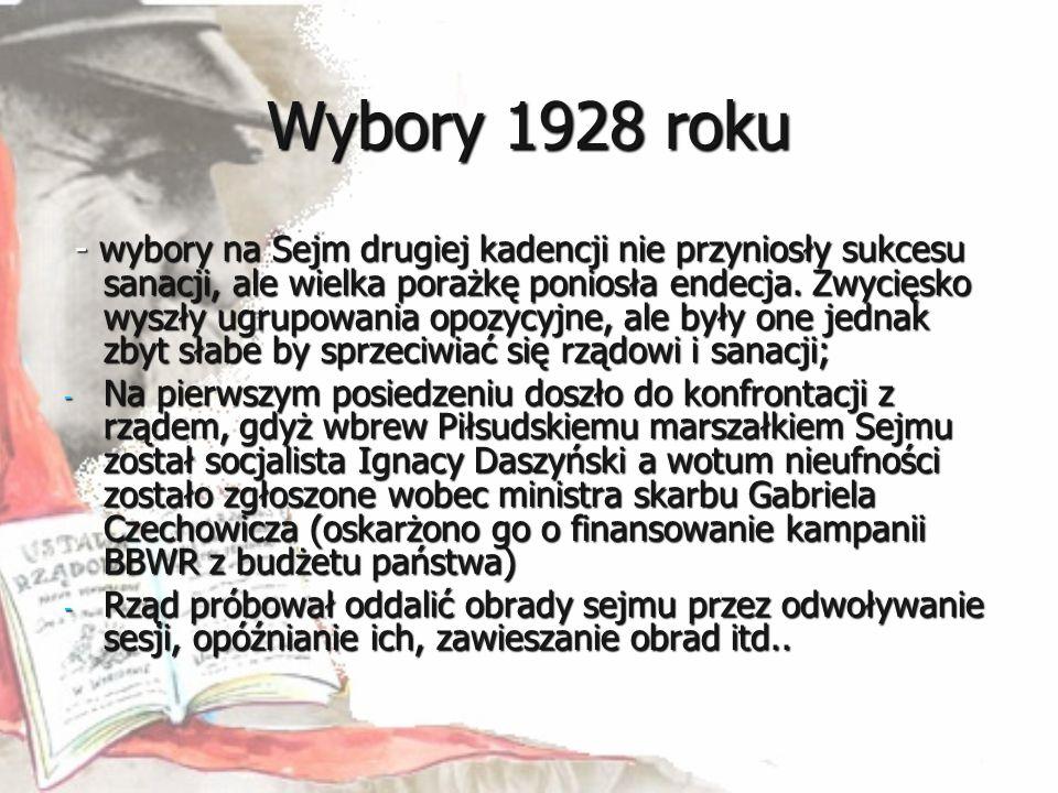 Wybory 1928 roku - wybory na Sejm drugiej kadencji nie przyniosły sukcesu sanacji, ale wielka porażkę poniosła endecja. Zwycięsko wyszły ugrupowania o