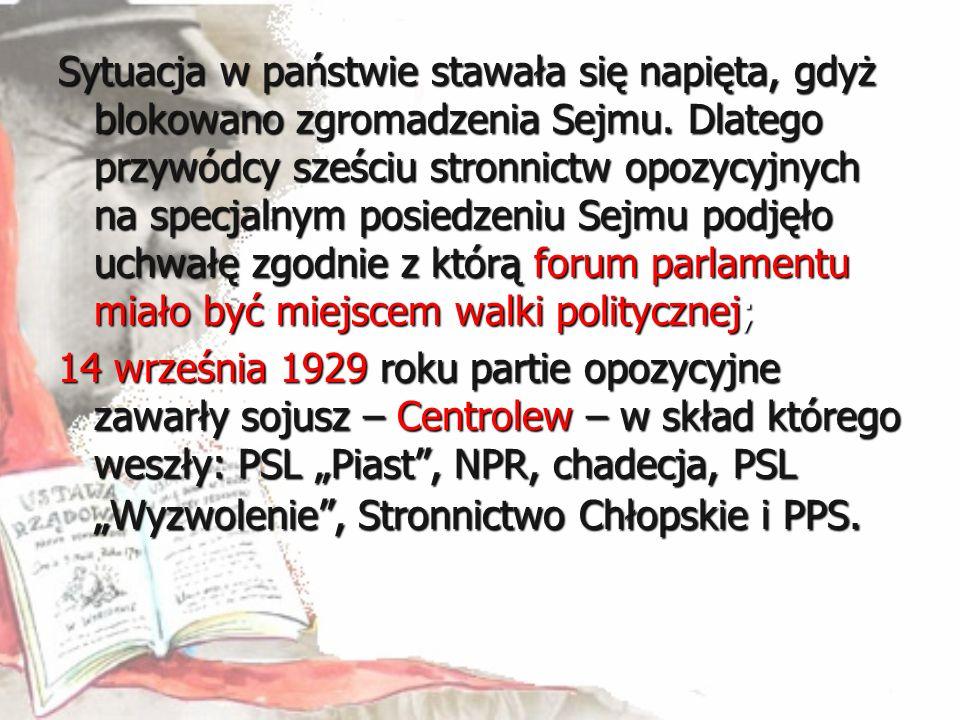 Sytuacja w państwie stawała się napięta, gdyż blokowano zgromadzenia Sejmu. Dlatego przywódcy sześciu stronnictw opozycyjnych na specjalnym posiedzeni
