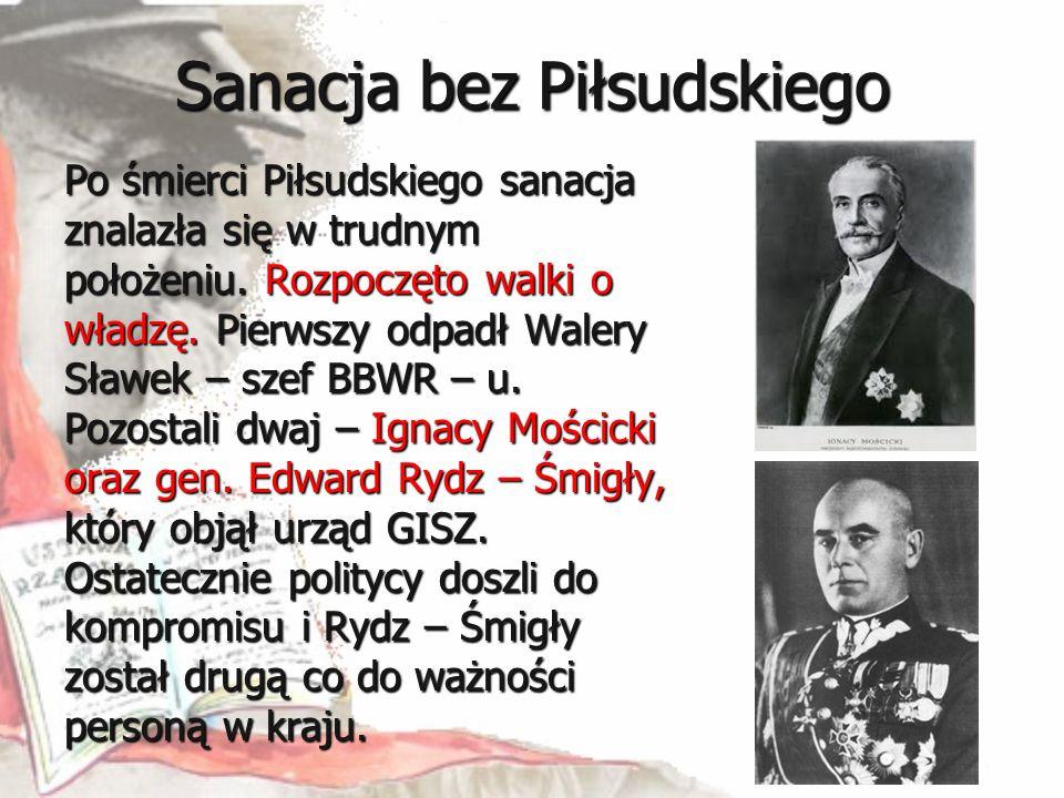Sanacja bez Piłsudskiego Po śmierci Piłsudskiego sanacja znalazła się w trudnym położeniu. Rozpoczęto walki o władzę. Pierwszy odpadł Walery Sławek –