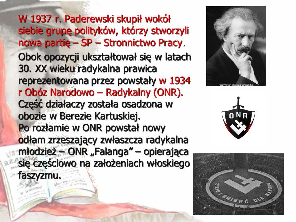 W 1937 r. Paderewski skupił wokół siebie grupę polityków, którzy stworzyli nowa partię – SP – Stronnictwo Pracy. Obok opozycji ukształtował się w lata
