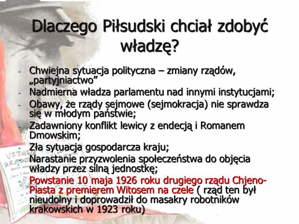 """Dlaczego Piłsudski chciał zdobyć władzę? - Chwiejna sytuacja polityczna – zmiany rządów, """"partyjniactwo"""" - Nadmierna władza parlamentu nad innymi inst"""
