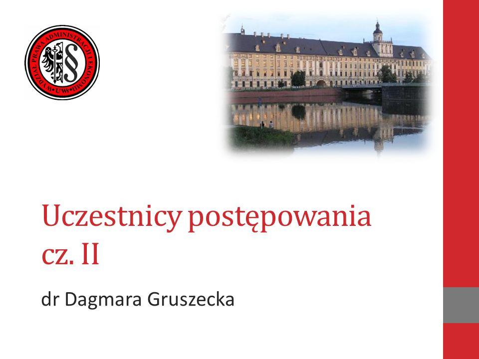 Uczestnicy postępowania cz. II dr Dagmara Gruszecka
