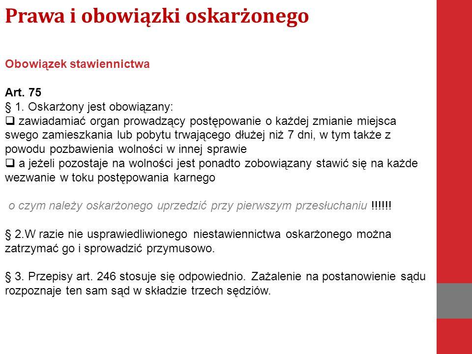 Obowiązek stawiennictwa Art. 75 § 1.