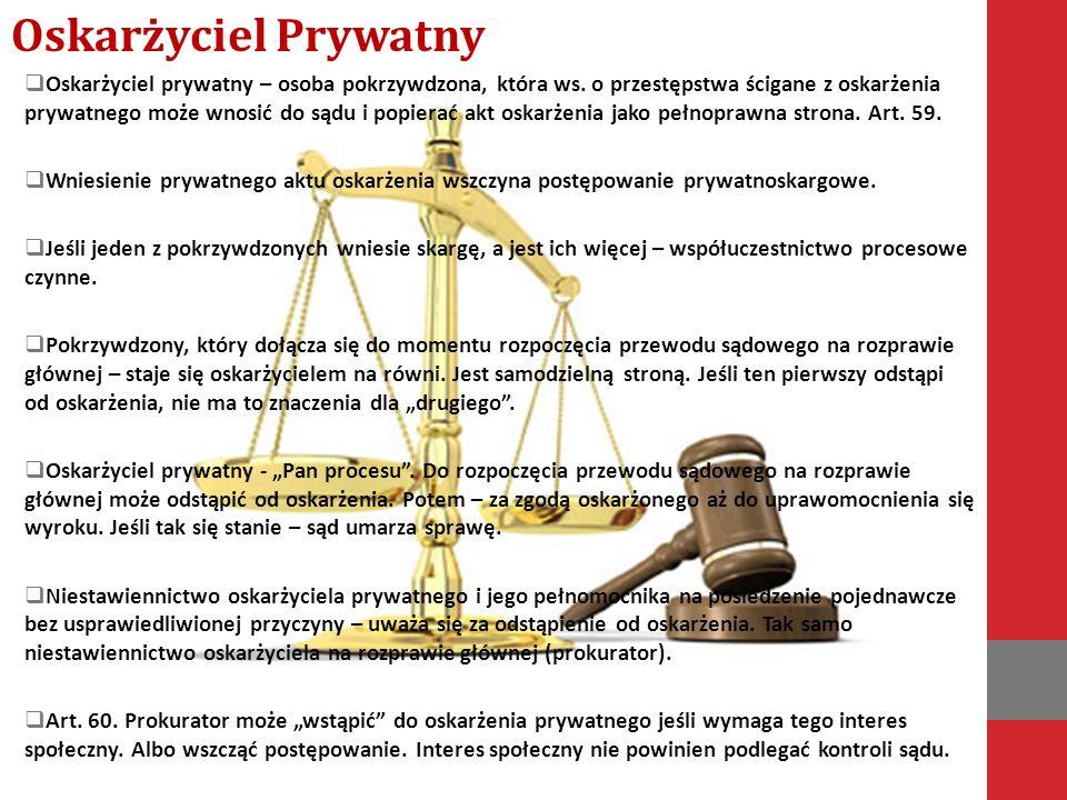  Oskarżyciel prywatny – osoba pokrzywdzona, która ws.