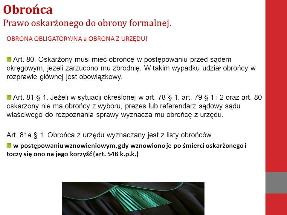 OBRONA OBLIGATORYJNA a OBRONA Z URZĘDU. Art. 80.