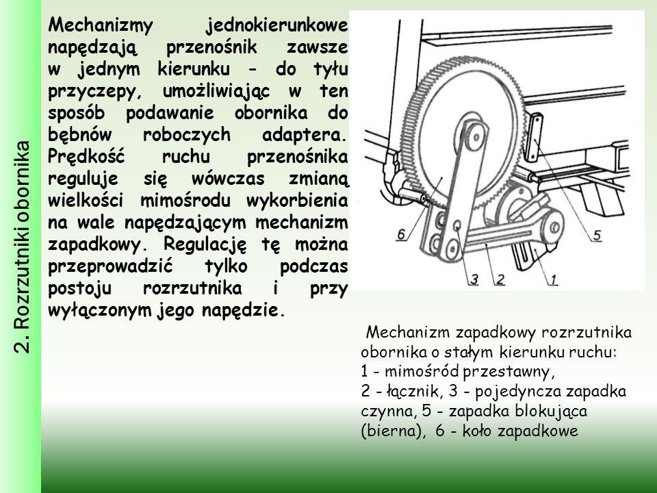 2. Rozrzutniki obornika Mechanizmy jednokierunkowe napędzają przenośnik zawsze w jednym kierunku - do tyłu przyczepy, umożliwiając w ten sposób podawa