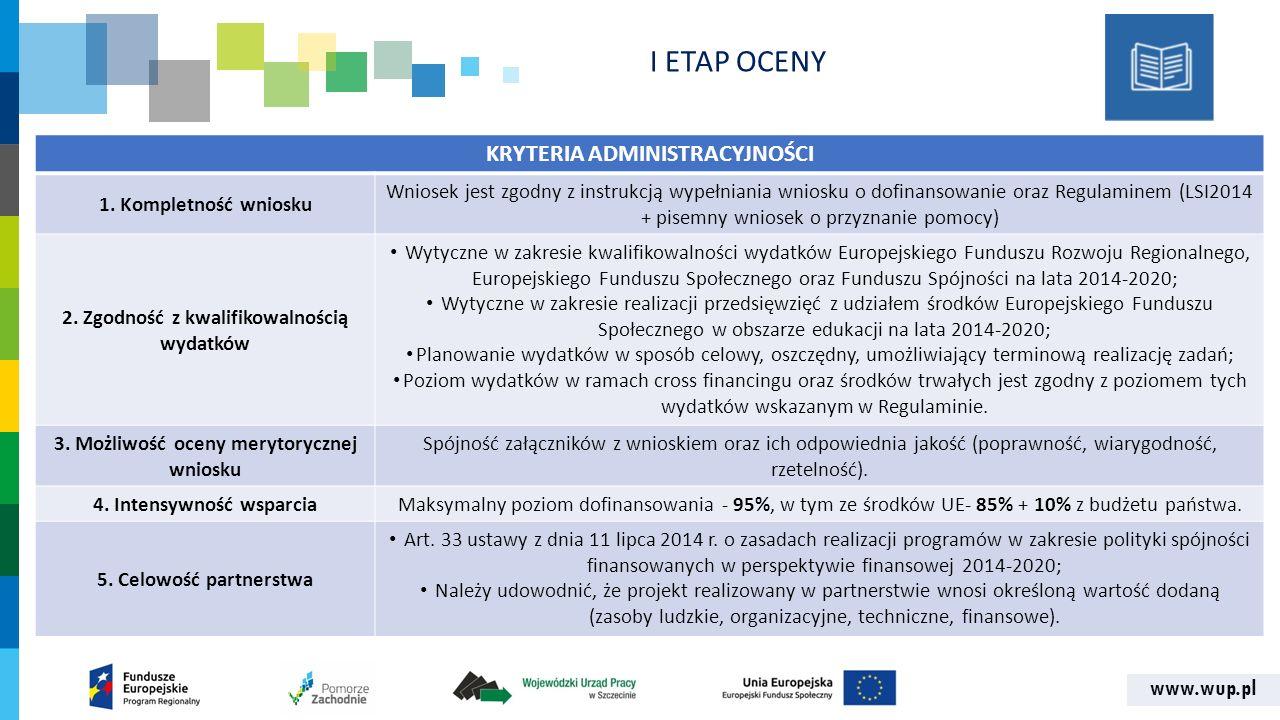 www.wup.pl KRYTERIA ADMINISTRACYJNOŚCI 1. Kompletność wniosku Wniosek jest zgodny z instrukcją wypełniania wniosku o dofinansowanie oraz Regulaminem (
