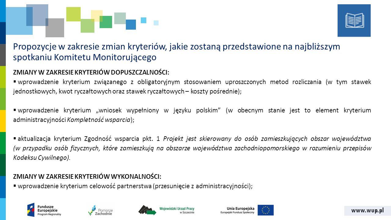 www.wup.pl Propozycje w zakresie zmian kryteriów, jakie zostaną przedstawione na najbliższym spotkaniu Komitetu Monitorującego ZMIANY W ZAKRESIE KRYTE