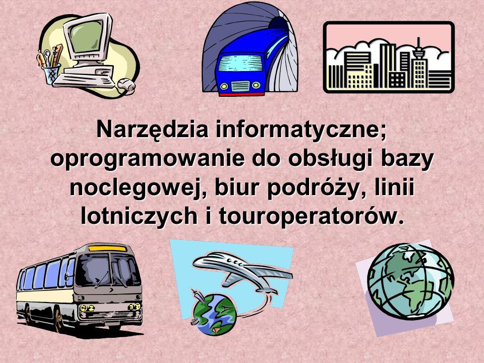 Narzędzia informatyczne; oprogramowanie do obsługi bazy noclegowej, biur podróży, linii lotniczych i touroperatorów.