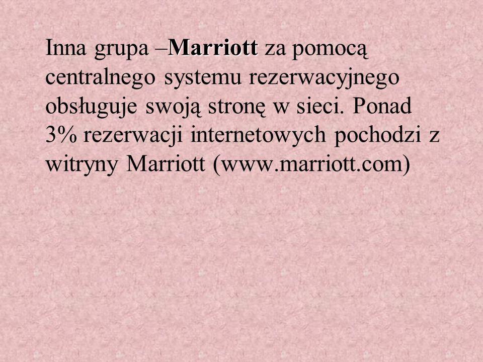 Marriott Inna grupa –Marriott za pomocą centralnego systemu rezerwacyjnego obsługuje swoją stronę w sieci.