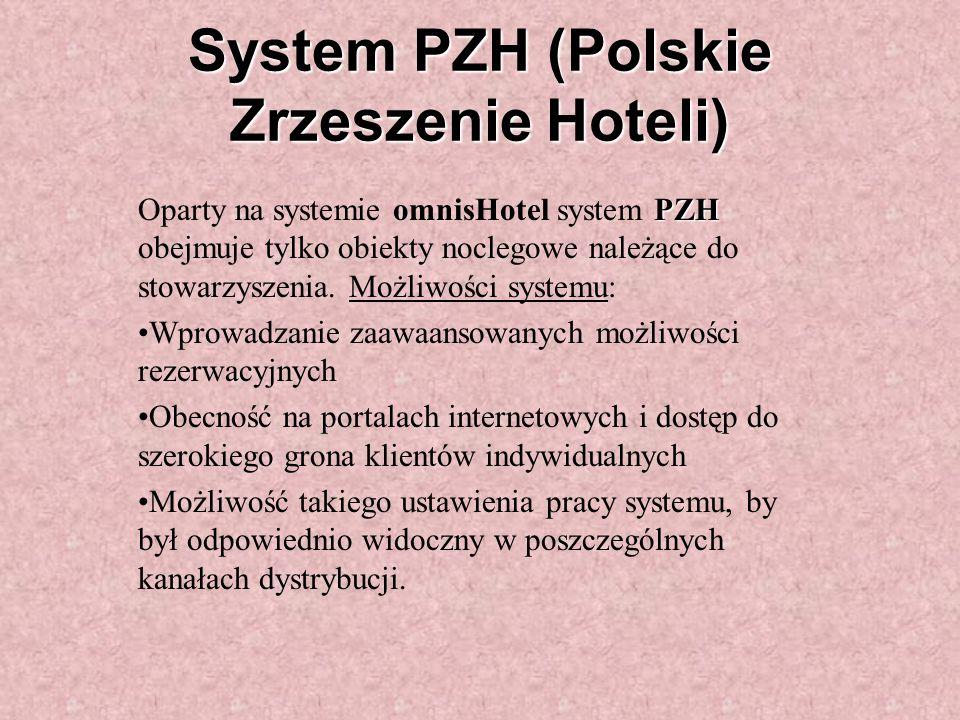System PZH (Polskie Zrzeszenie Hoteli) PZH Oparty na systemie omnisHotel system PZH obejmuje tylko obiekty noclegowe należące do stowarzyszenia.