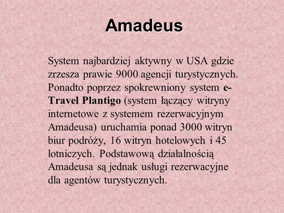 Amadeus System najbardziej aktywny w USA gdzie zrzesza prawie 9000 agencji turystycznych.