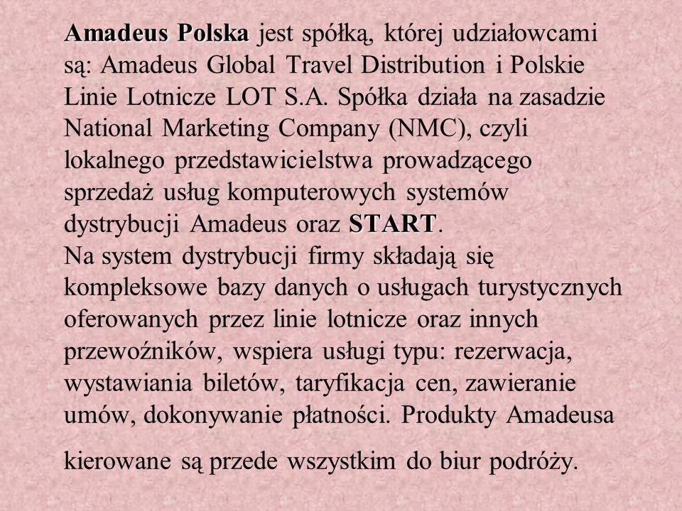 Amadeus Polska START Amadeus Polska jest spółką, której udziałowcami są: Amadeus Global Travel Distribution i Polskie Linie Lotnicze LOT S.A.