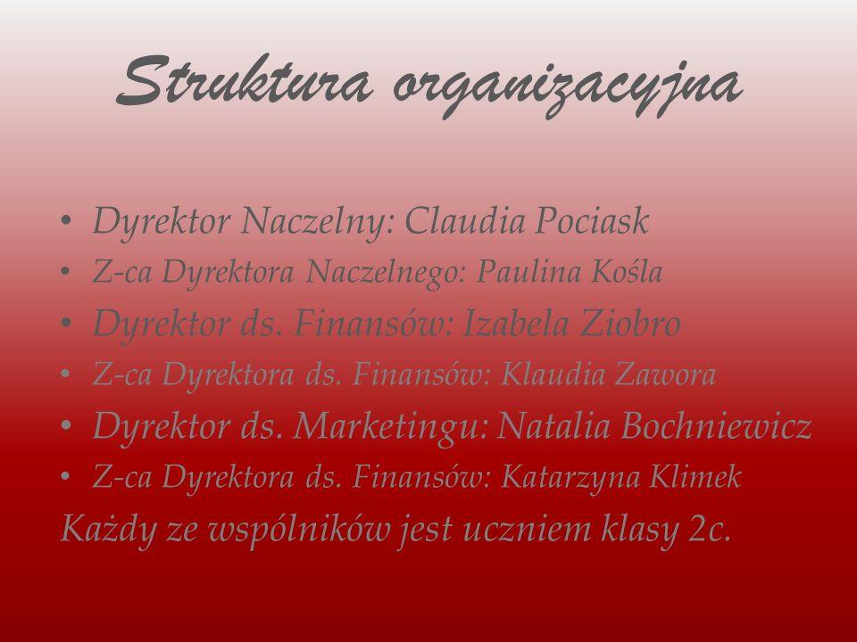 Struktura organizacyjna Dyrektor Naczelny: Claudia Pociask Z-ca Dyrektora Naczelnego: Paulina Kośla Dyrektor ds.