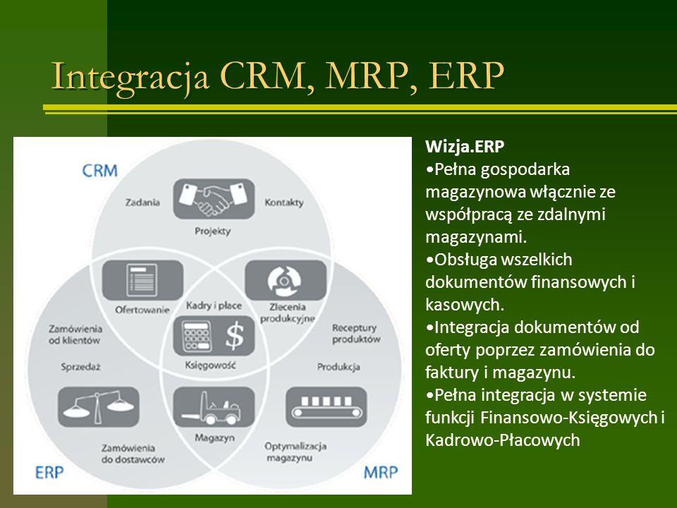 Integracja CRM, MRP, ERP Wizja.ERP Pełna gospodarka magazynowa włącznie ze współpracą ze zdalnymi magazynami. Obsługa wszelkich dokumentów finansowych