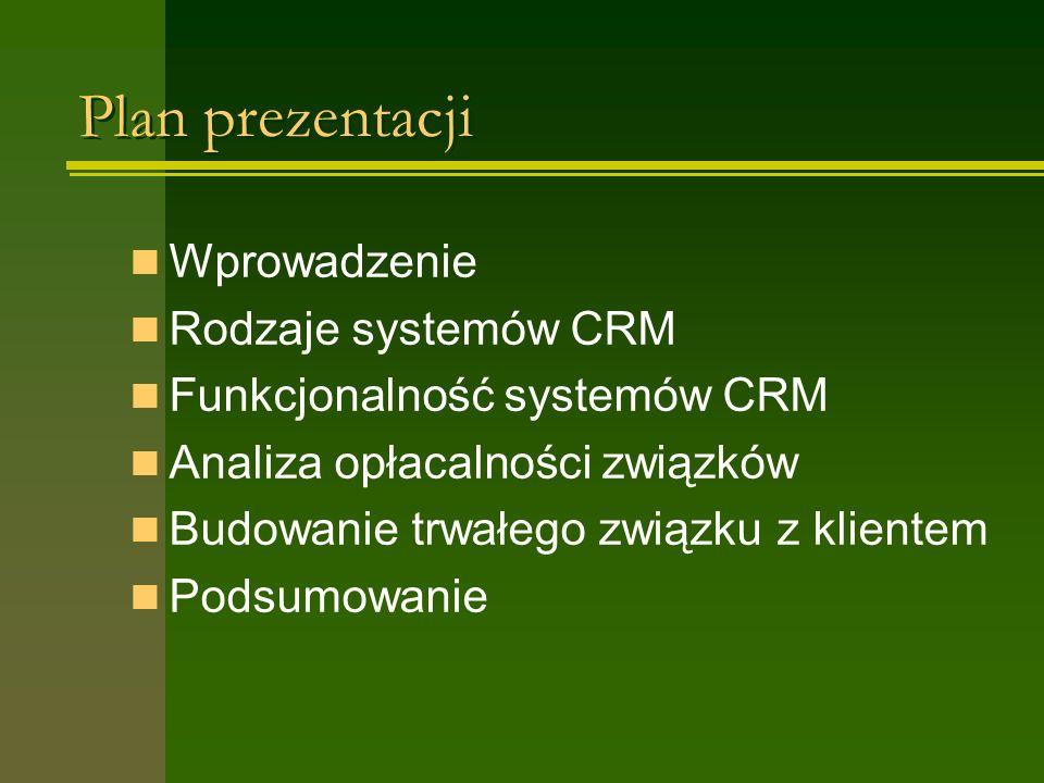 Plan prezentacji Wprowadzenie Rodzaje systemów CRM Funkcjonalność systemów CRM Analiza opłacalności związków Budowanie trwałego związku z klientem Pod