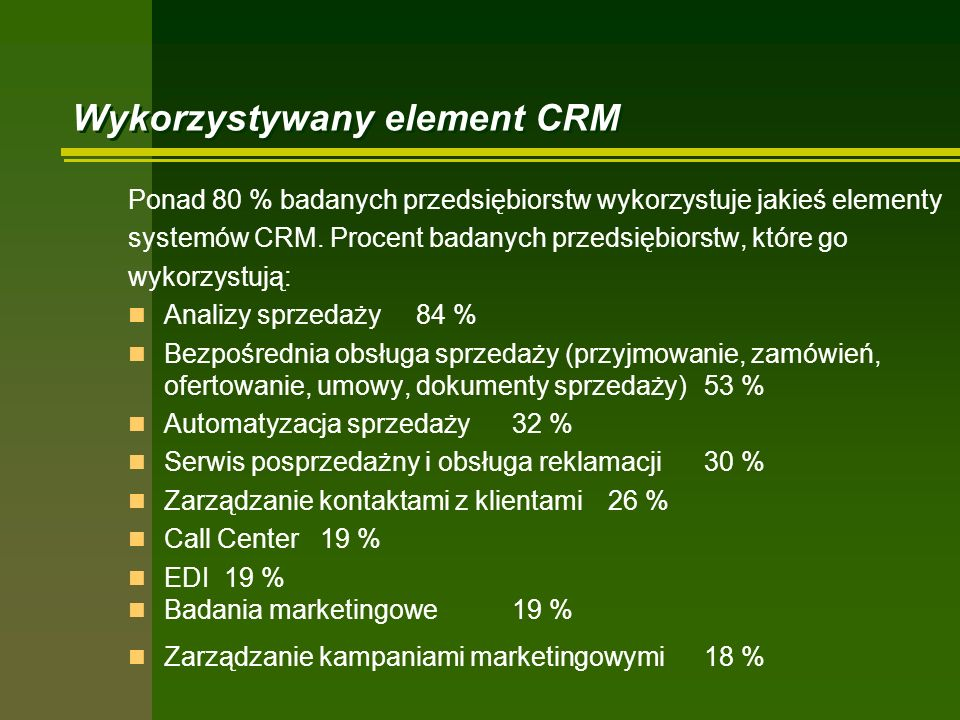Wykorzystywany element CRM Ponad 80 % badanych przedsiębiorstw wykorzystuje jakieś elementy systemów CRM. Procent badanych przedsiębiorstw, które go w
