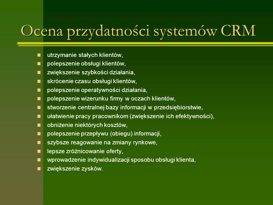 Ocena przydatności systemów CRM utrzymanie stałych klientów, polepszenie obsługi klientów, zwiększenie szybkości działania, skrócenie czasu obsługi kl