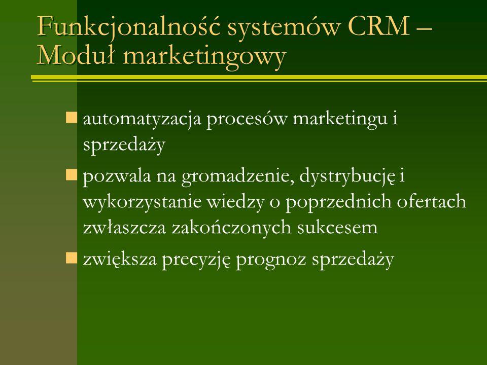 Funkcjonalność systemów CRM – Moduł marketingowy automatyzacja procesów marketingu i sprzedaży pozwala na gromadzenie, dystrybucję i wykorzystanie wiedzy o poprzednich ofertach zwłaszcza zakończonych sukcesem zwiększa precyzję prognoz sprzedaży