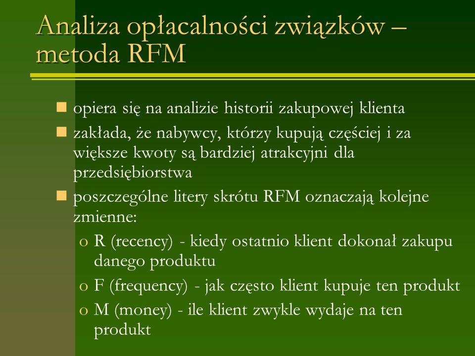 Analiza opłacalności związków – metoda RFM opiera się na analizie historii zakupowej klienta zakłada, że nabywcy, którzy kupują częściej i za większe kwoty są bardziej atrakcyjni dla przedsiębiorstwa poszczególne litery skrótu RFM oznaczają kolejne zmienne: oR (recency) - kiedy ostatnio klient dokonał zakupu danego produktu oF (frequency) - jak często klient kupuje ten produkt oM (money) - ile klient zwykle wydaje na ten produkt