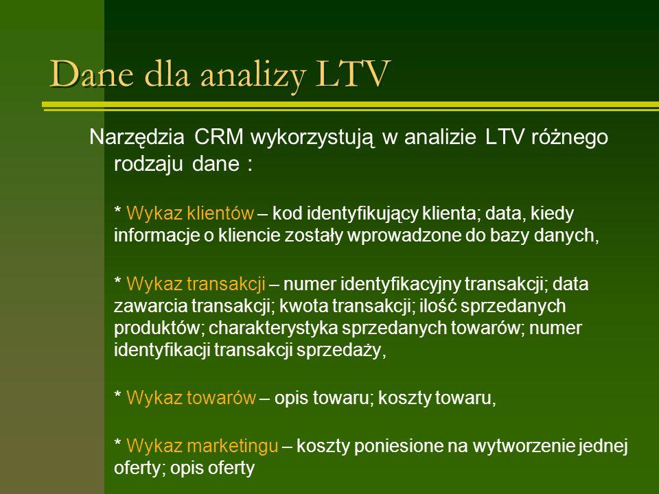 Dane dla analizy LTV Narzędzia CRM wykorzystują w analizie LTV różnego rodzaju dane : * Wykaz klientów – kod identyfikujący klienta; data, kiedy informacje o kliencie zostały wprowadzone do bazy danych, * Wykaz transakcji – numer identyfikacyjny transakcji; data zawarcia transakcji; kwota transakcji; ilość sprzedanych produktów; charakterystyka sprzedanych towarów; numer identyfikacji transakcji sprzedaży, * Wykaz towarów – opis towaru; koszty towaru, * Wykaz marketingu – koszty poniesione na wytworzenie jednej oferty; opis oferty