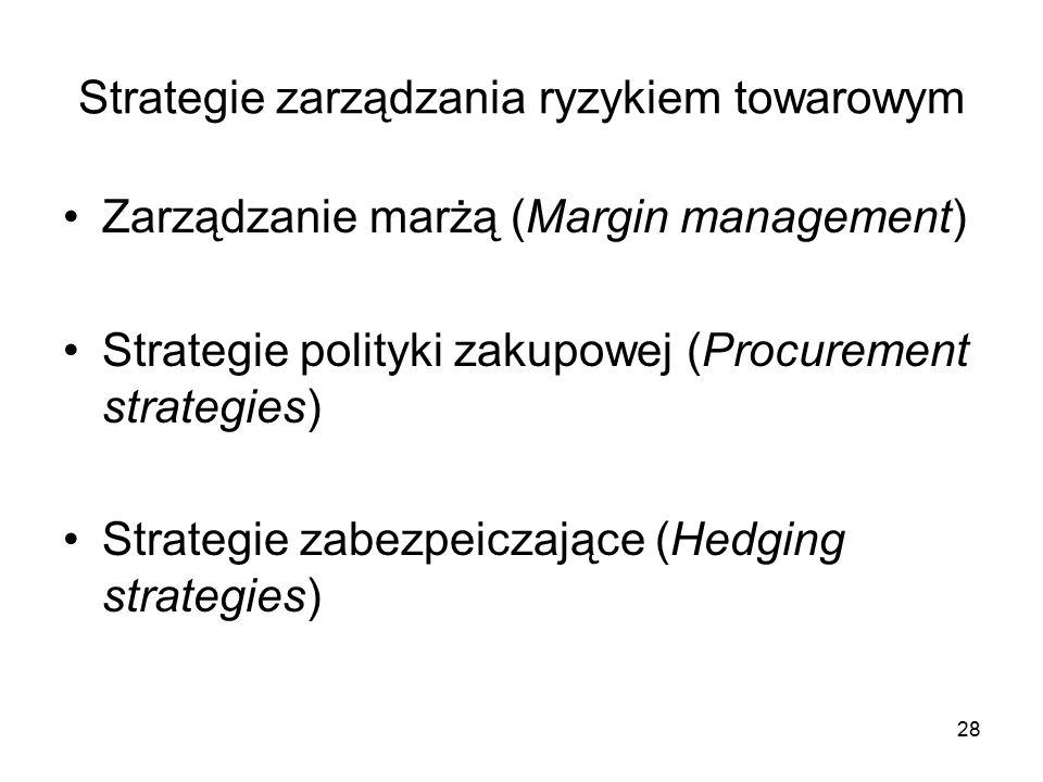 Strategie zarządzania ryzykiem towarowym Zarządzanie marżą (Margin management) Strategie polityki zakupowej (Procurement strategies) Strategie zabezpeiczające (Hedging strategies) 28