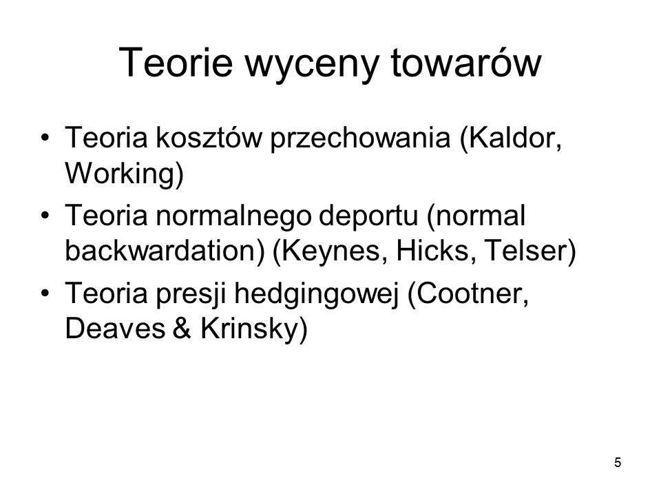Teorie wyceny towarów Teoria kosztów przechowania (Kaldor, Working) Teoria normalnego deportu (normal backwardation) (Keynes, Hicks, Telser) Teoria presji hedgingowej (Cootner, Deaves & Krinsky) 5