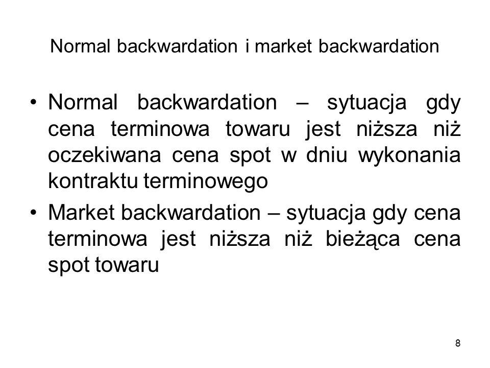 Normal backwardation i market backwardation Normal backwardation – sytuacja gdy cena terminowa towaru jest niższa niż oczekiwana cena spot w dniu wykonania kontraktu terminowego Market backwardation – sytuacja gdy cena terminowa jest niższa niż bieżąca cena spot towaru 8