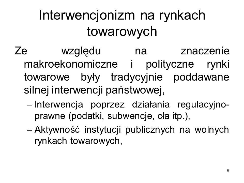 9 Interwencjonizm na rynkach towarowych Ze względu na znaczenie makroekonomiczne i polityczne rynki towarowe były tradycyjnie poddawane silnej interwencji państwowej, –Interwencja poprzez działania regulacyjno- prawne (podatki, subwencje, cła itp.), –Aktywność instytucji publicznych na wolnych rynkach towarowych,
