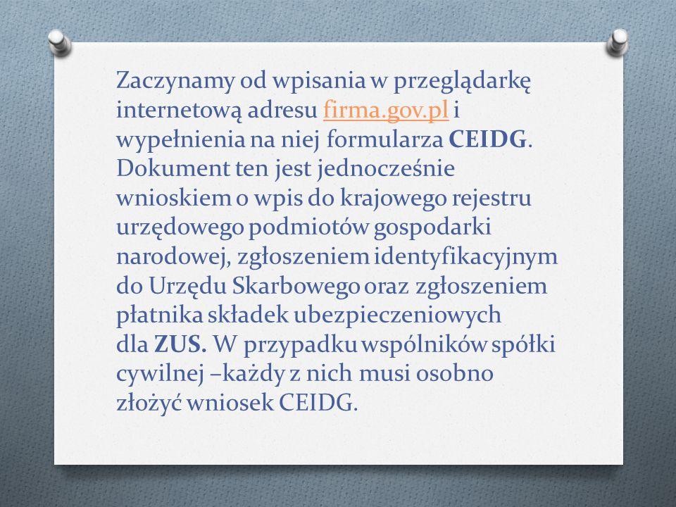 Zaczynamy od wpisania w przeglądarkę internetową adresu firma.gov.pl i wypełnienia na niej formularza CEIDG.