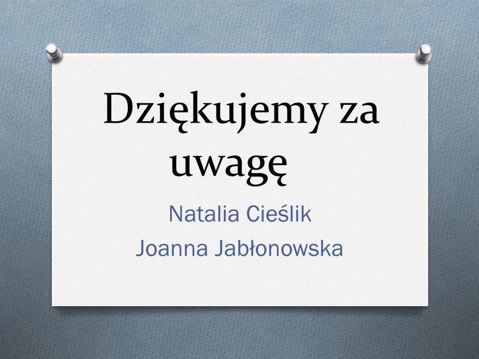 Dziękujemy za uwagę Natalia Cieślik Joanna Jabłonowska