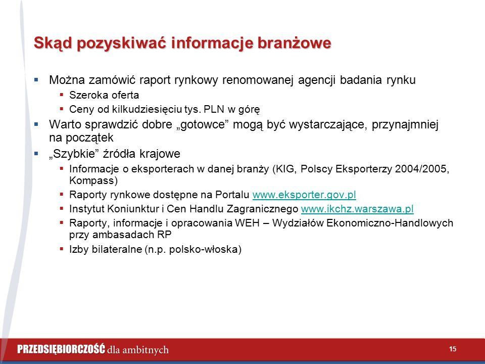 15 Skąd pozyskiwać informacje branżowe  Można zamówić raport rynkowy renomowanej agencji badania rynku  Szeroka oferta  Ceny od kilkudziesięciu tys