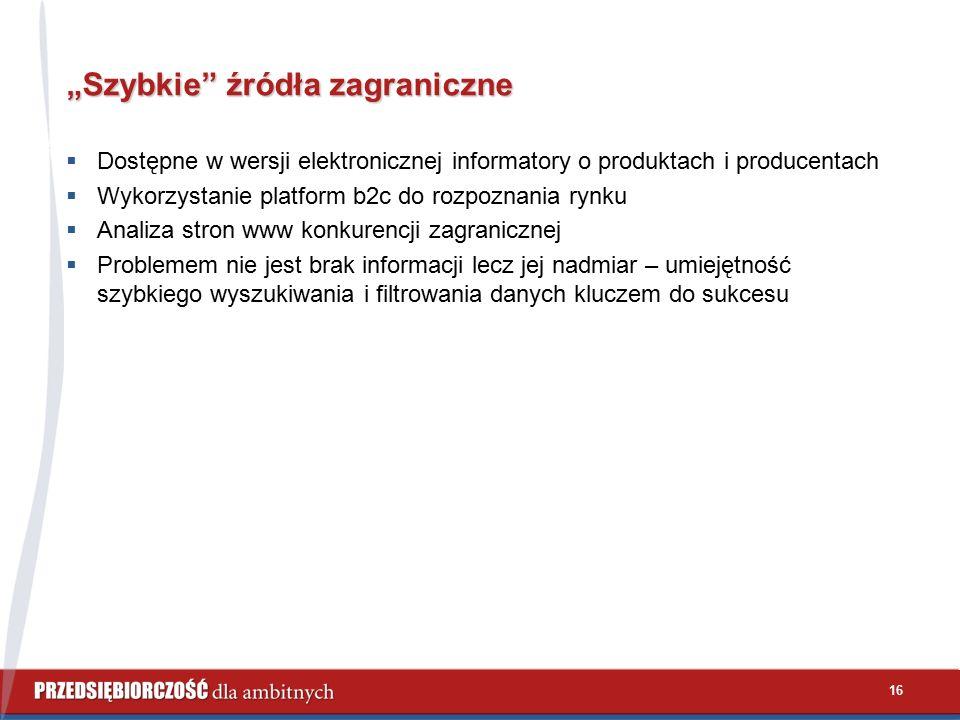 """16 """"Szybkie"""" źródła zagraniczne  Dostępne w wersji elektronicznej informatory o produktach i producentach  Wykorzystanie platform b2c do rozpoznania"""